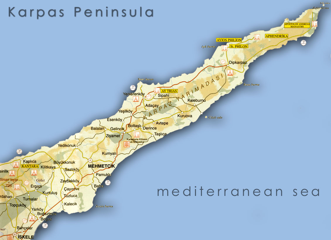 Maps of Iskele Karpas North Cyprus