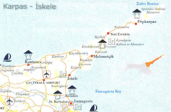 Maps Of Iskele Karpas North Cyprus - Cyprus map with airports