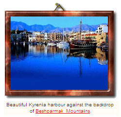 Beautiful Kyrenia harbour against the backdrop of Beshparmak Mountains