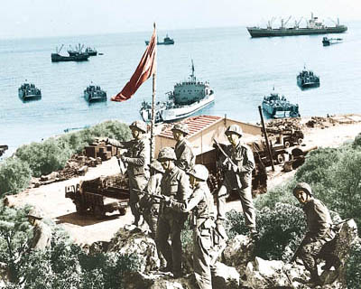 Landing of the Turkish solidier in Cyprus, July 1974
